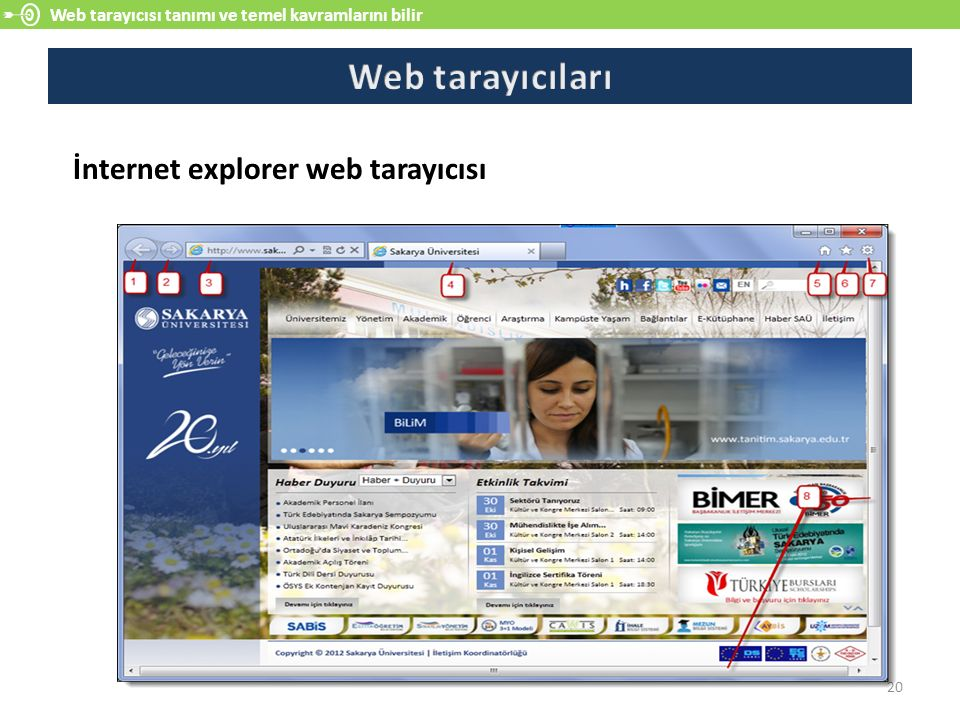 Web tarayıcısı tanımı ve temel kavramlarını bilir 20 İnternet explorer web tarayıcısı