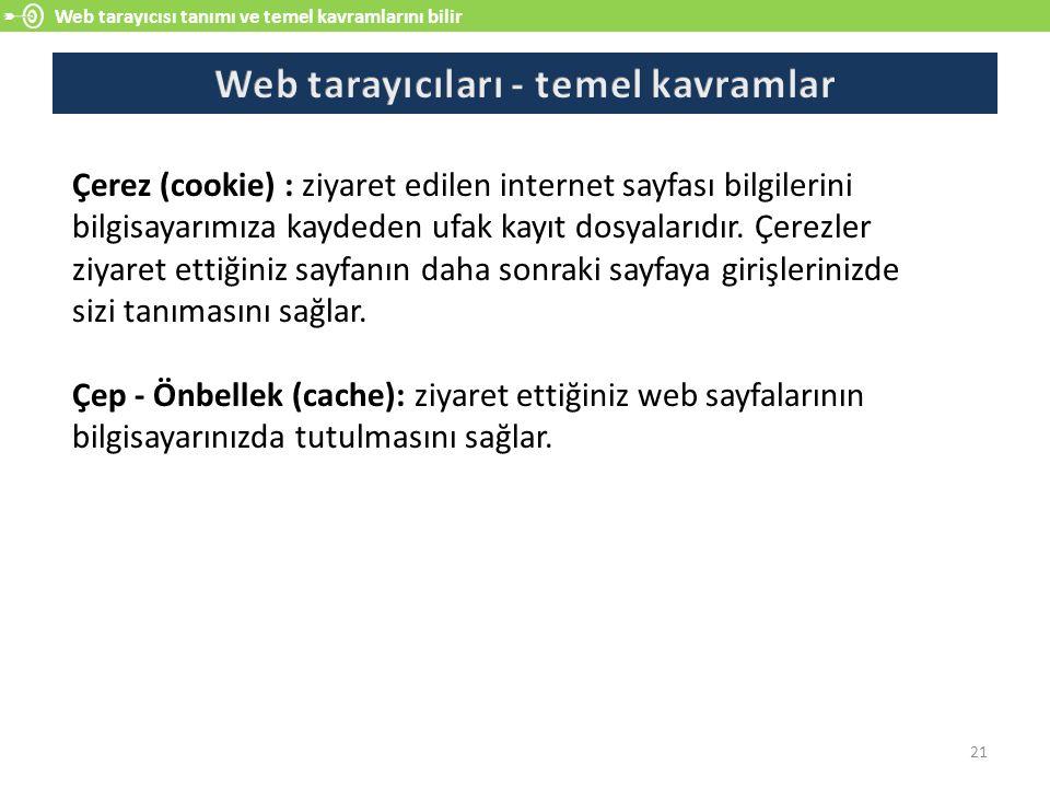Web tarayıcısı tanımı ve temel kavramlarını bilir 21 Çerez (cookie) : ziyaret edilen internet sayfası bilgilerini bilgisayarımıza kaydeden ufak kayıt dosyalarıdır.