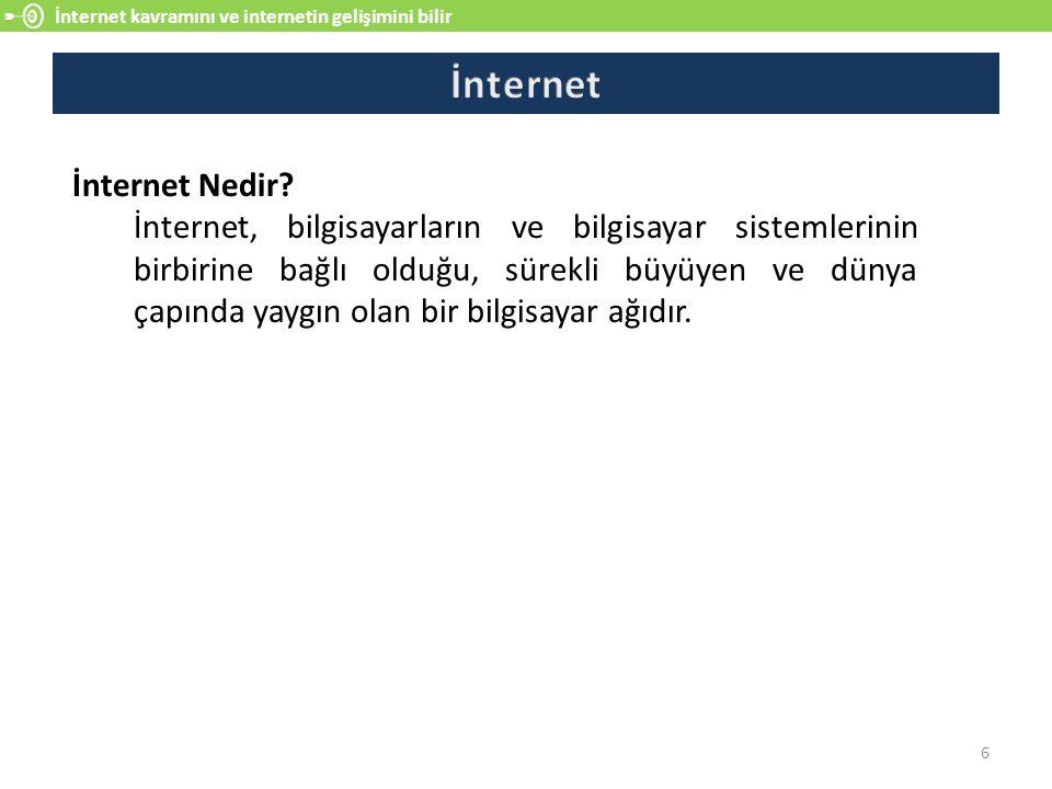 İnternet kavramını ve internetin gelişimini bilir 6 İnternet Nedir? İnternet, bilgisayarların ve bilgisayar sistemlerinin birbirine bağlı olduğu, süre