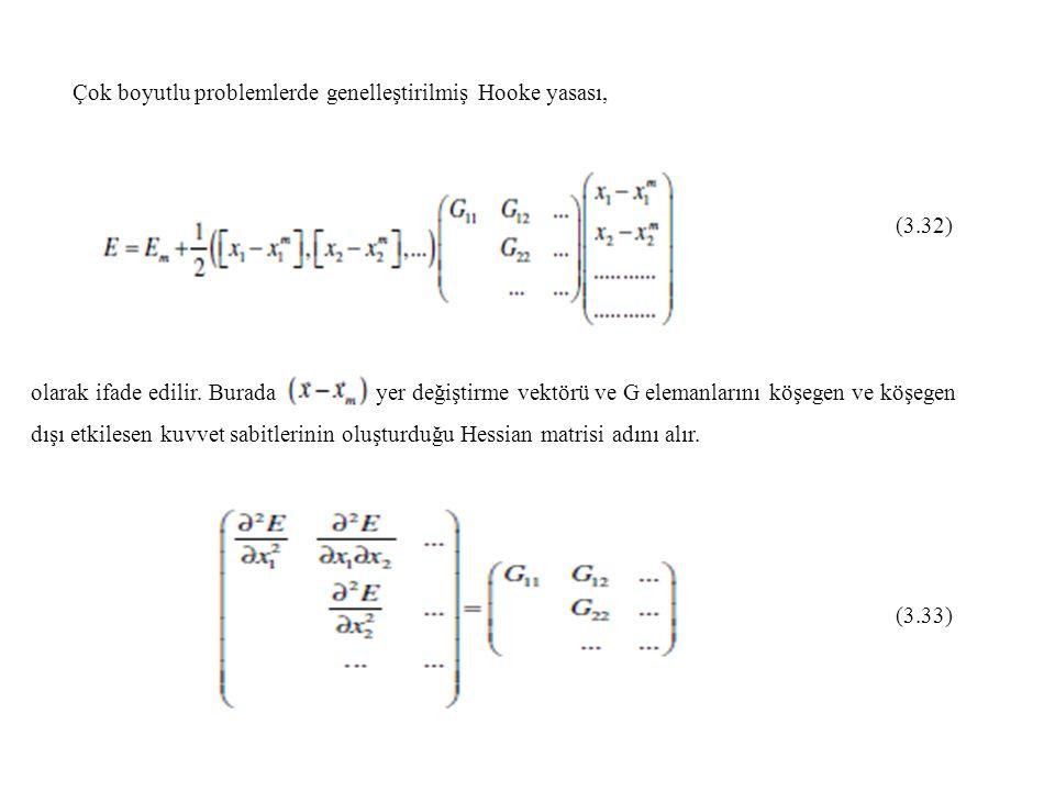 Çok boyutlu problemlerde genelleştirilmiş Hooke yasası, (3.32) olarak ifade edilir. Burada yer değiştirme vektörü ve G elemanlarını köşegen ve köşegen