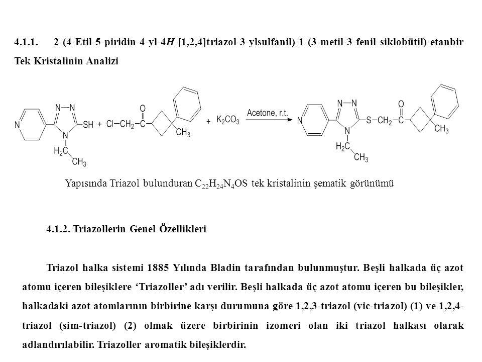 4.1.1. 2-(4-Etil-5-piridin-4-yl-4H-[1,2,4]triazol-3-ylsulfanil)-1-(3-metil-3-fenil-siklobütil)-etanbir Tek Kristalinin Analizi 4.1.2. Triazollerin Gen