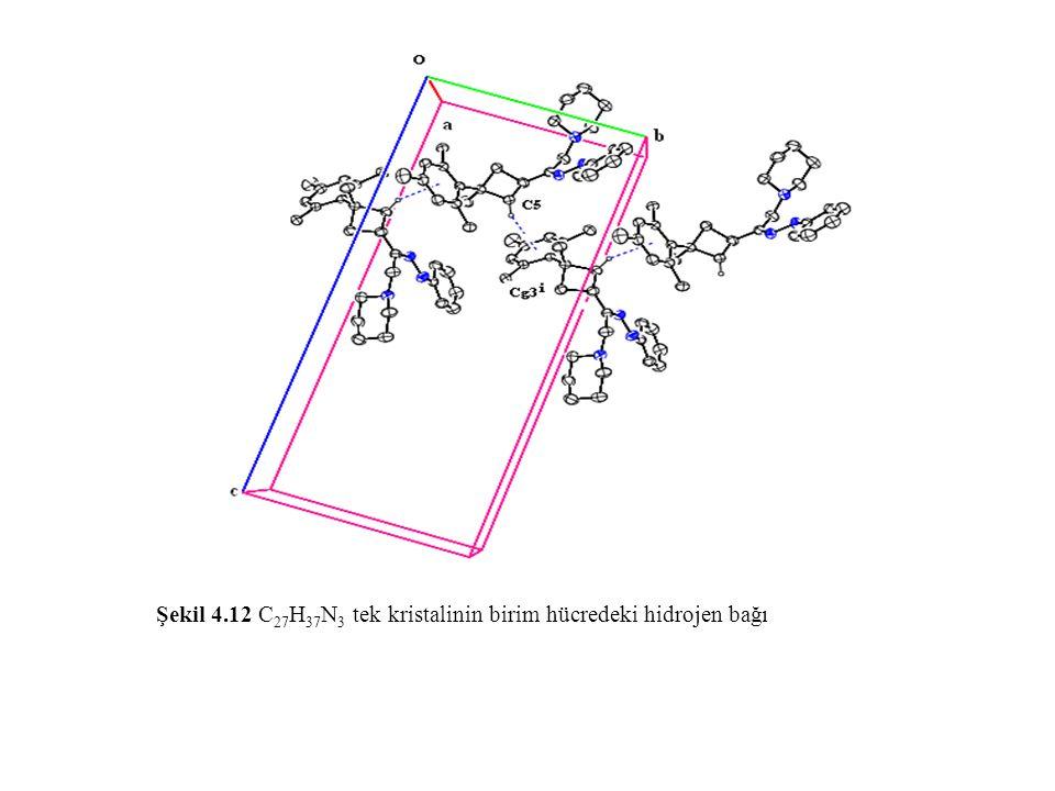 Şekil 4.12 C 27 H 37 N 3 tek kristalinin birim hücredeki hidrojen bağı