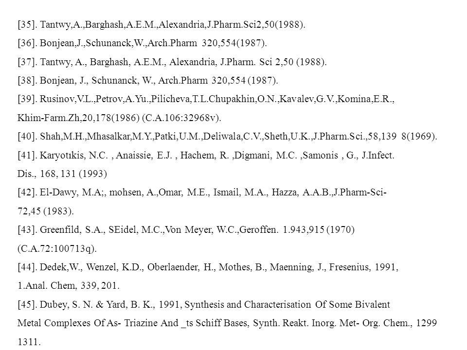 [35]. Tantwy,A.,Barghash,A.E.M.,Alexandria,J.Pharm.Sci2,50(1988). [36]. Bonjean,J.,Schunanck,W.,Arch.Pharm 320,554(1987). [37]. Tantwy, A., Barghash,