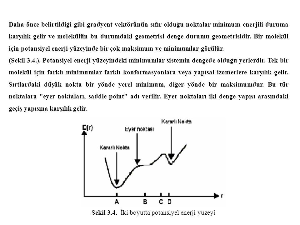 Daha önce belirtildiği gibi gradyent vektörünün sıfır olduğu noktalar minimum enerjili duruma karşılık gelir ve molekülün bu durumdaki geometrisi denge durumu geometrisidir.