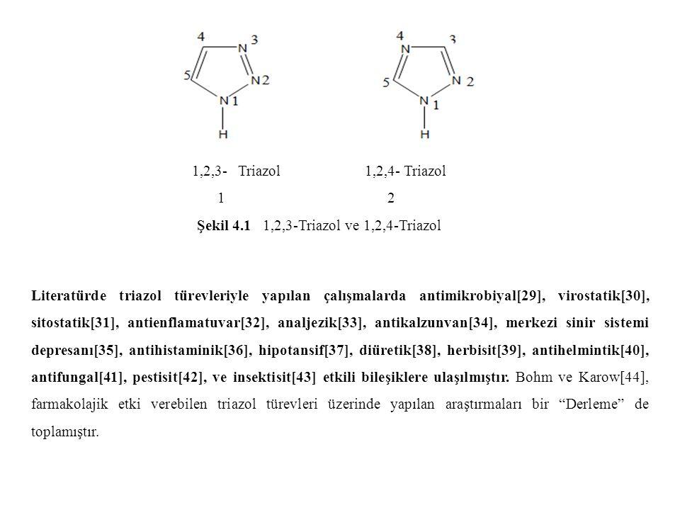 1,2,3- Triazol 1,2,4- Triazol 1 2 Şekil 4.1 1,2,3-Triazol ve 1,2,4-Triazol Literatürde triazol türevleriyle yapılan çalışmalarda antimikrobiyal[29], virostatik[30], sitostatik[31], antienflamatuvar[32], analjezik[33], antikalzunvan[34], merkezi sinir sistemi depresanı[35], antihistaminik[36], hipotansif[37], diüretik[38], herbisit[39], antihelmintik[40], antifungal[41], pestisit[42], ve insektisit[43] etkili bileşiklere ulaşılmıştır.