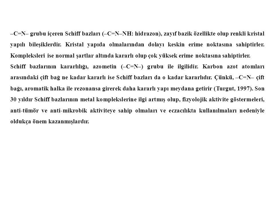 –C=N– grubu içeren Schiff bazları (–C=N–NH: hidrazon), zayıf bazik özellikte olup renkli kristal yapılı bileşiklerdir.