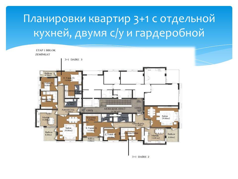Планировки квартир 3+1 с отдельной кухней, двумя с/у и гардеробной