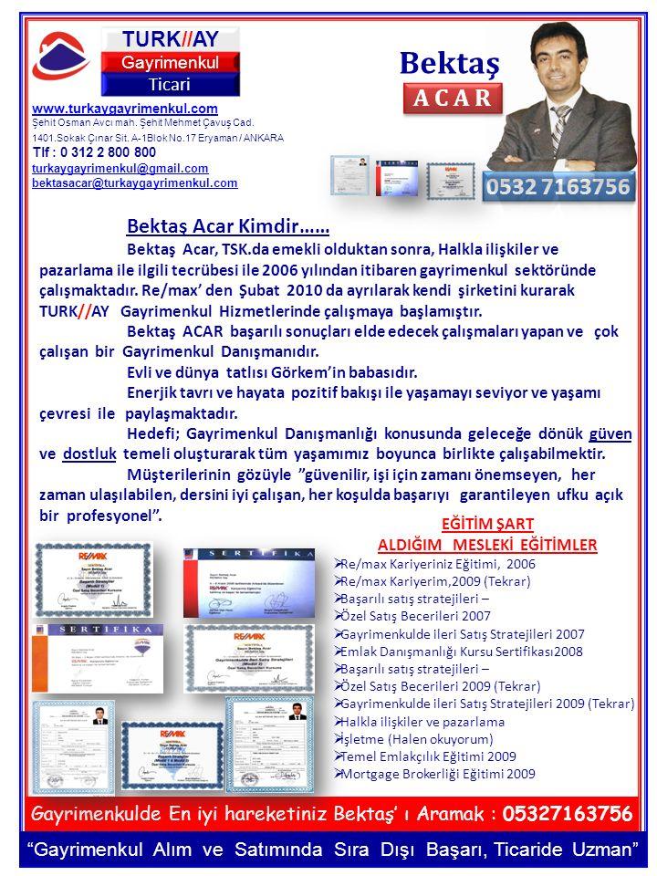 www.turkaygayrimenkul.com Şehit Osman Avcı mah. Şehit Mehmet Çavuş Cad. 1401.Sokak Çınar Sit. A-1Blok No.17 Eryaman / ANKARA Tlf : 0 312 2 800 800 tur
