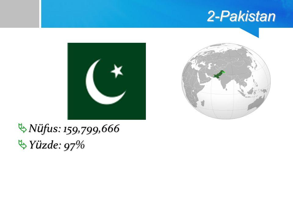 2-Pakistan  N ü fus: 159,799,666  Y ü zde: 97%