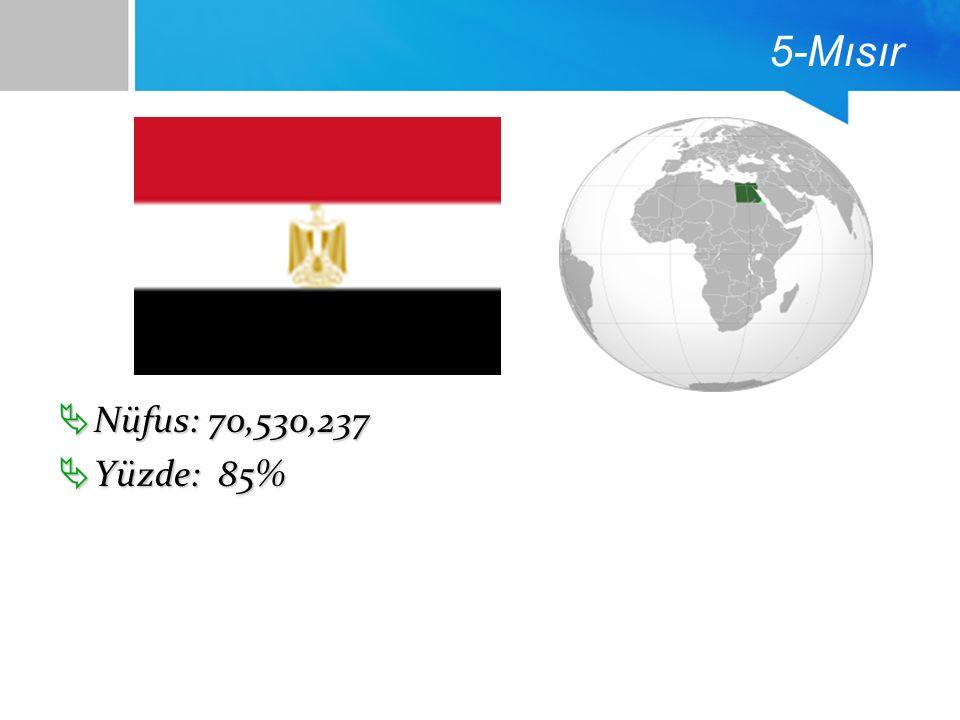 5-Mısır  Nüfus: 70,530,237  Yüzde: 85%