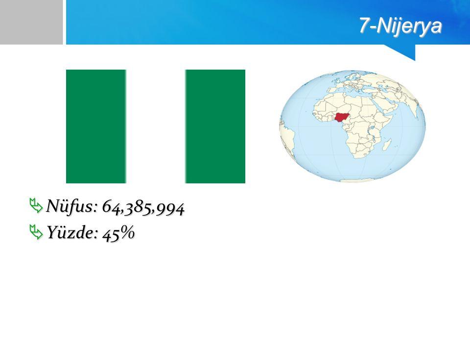 7-Nijerya  Nüfus: 64,385,994  Yüzde: 45%