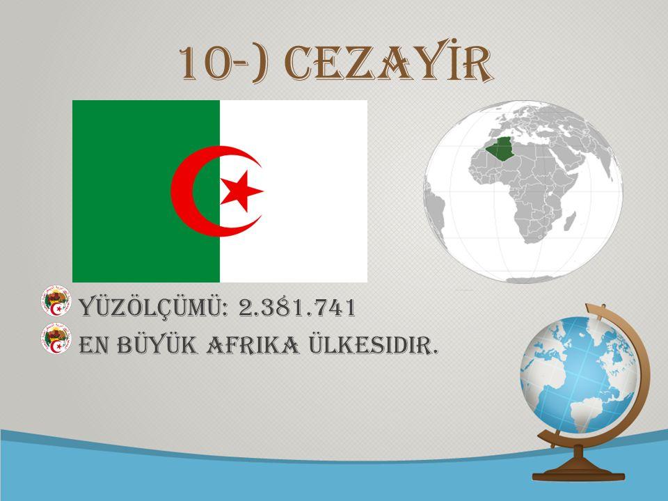© free-ppt-templates.com 10-) CEZAY İ R YÜZÖLÇÜMÜ: 2.381.741 En büyük Afrika ülkesidir.
