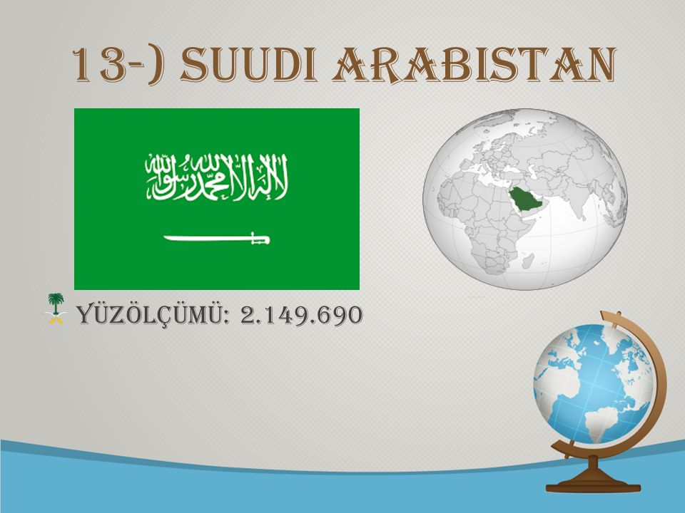 © free-ppt-templates.com 13-) Suudi Arabistan YÜZÖLÇÜMÜ: 2.149.690