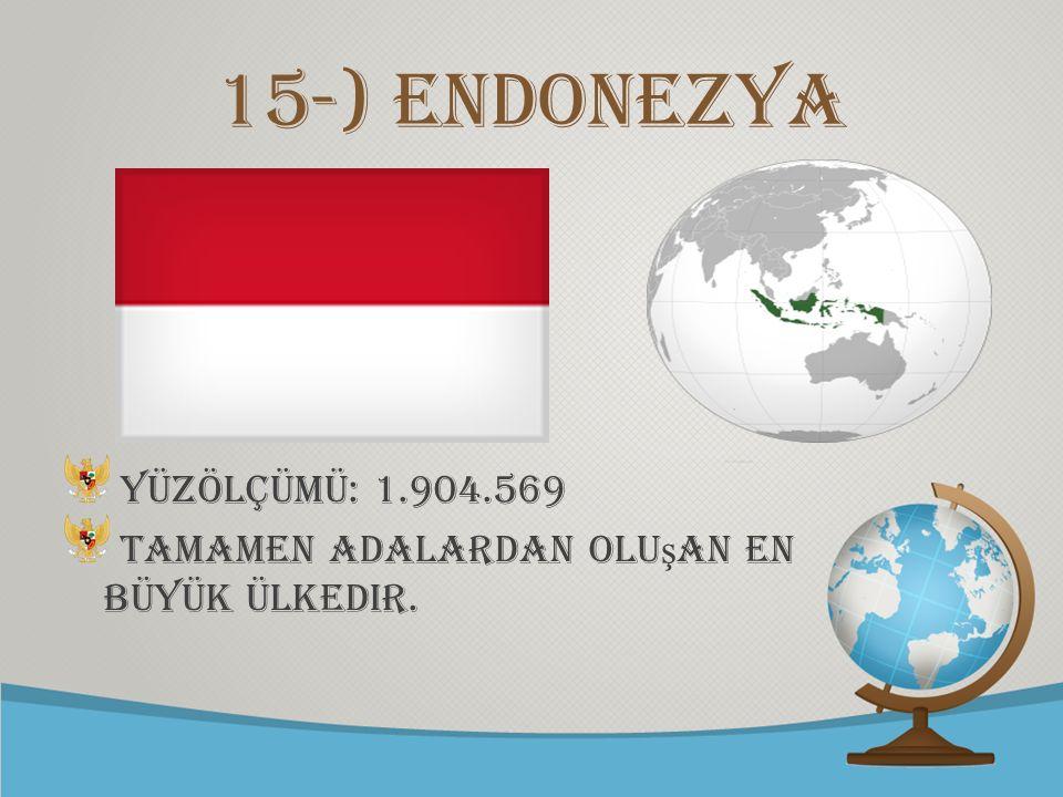 © free-ppt-templates.com 15-) Endonezya Yüzölçümü: 1.904.569 Tamamen adalardan olu ş an en büyük ülkedir.