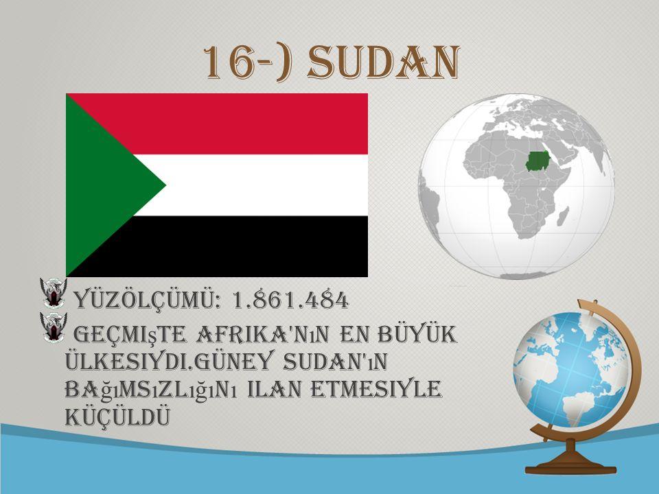 © free-ppt-templates.com 16-) sudan Yüzölçümü: 1.861.484 Geçmi ş te Afrika'n ı n en büyük ülkesiydi.Güney Sudan' ı n ba ğı ms ı zl ığı n ı ilan etmesi