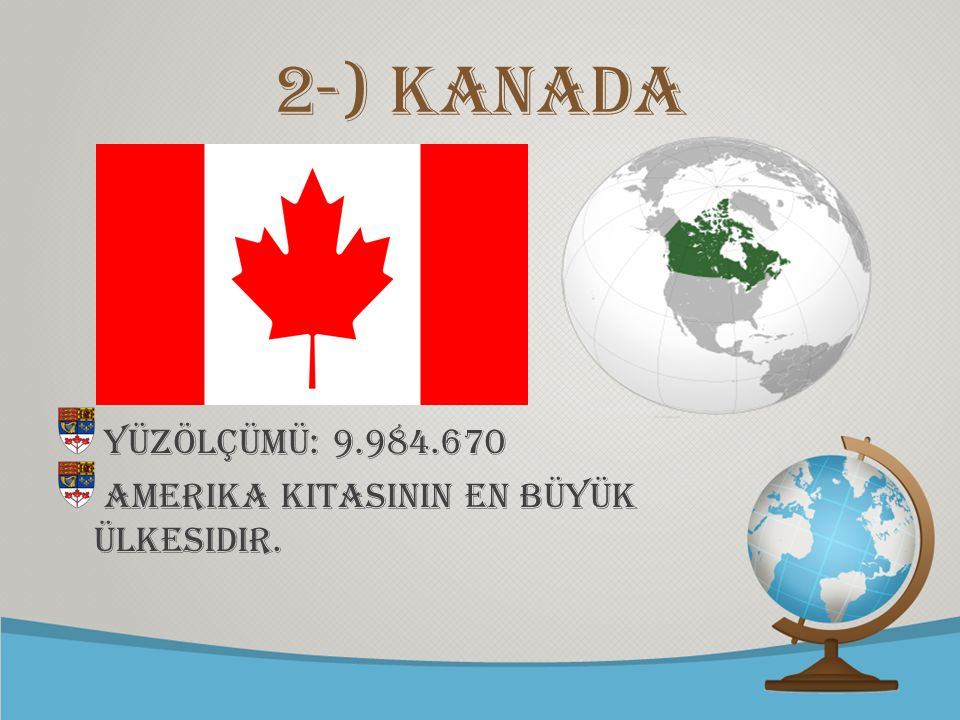 © free-ppt-templates.com 2-) Kanada Yüzölçümü: 9.984.670 Amerika kItasInIn en büyük ülkesidir.