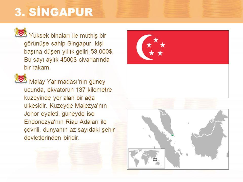 3. SİNGAPUR Yüksek binaları ile müthiş bir görünüşe sahip Singapur, kişi başına düşen yıllık geliri 53.000$. Bu sayı aylık 4500$ civarlarında bir raka