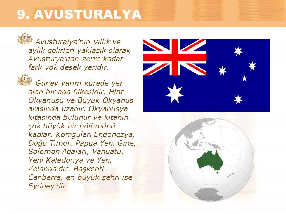 9. AVUSTURALYA Avusturalya'nın yıllık ve aylık gelirleri yaklaşık olarak Avusturya'dan zerre kadar fark yok desek yeridir. Güney yarım kürede yer alan