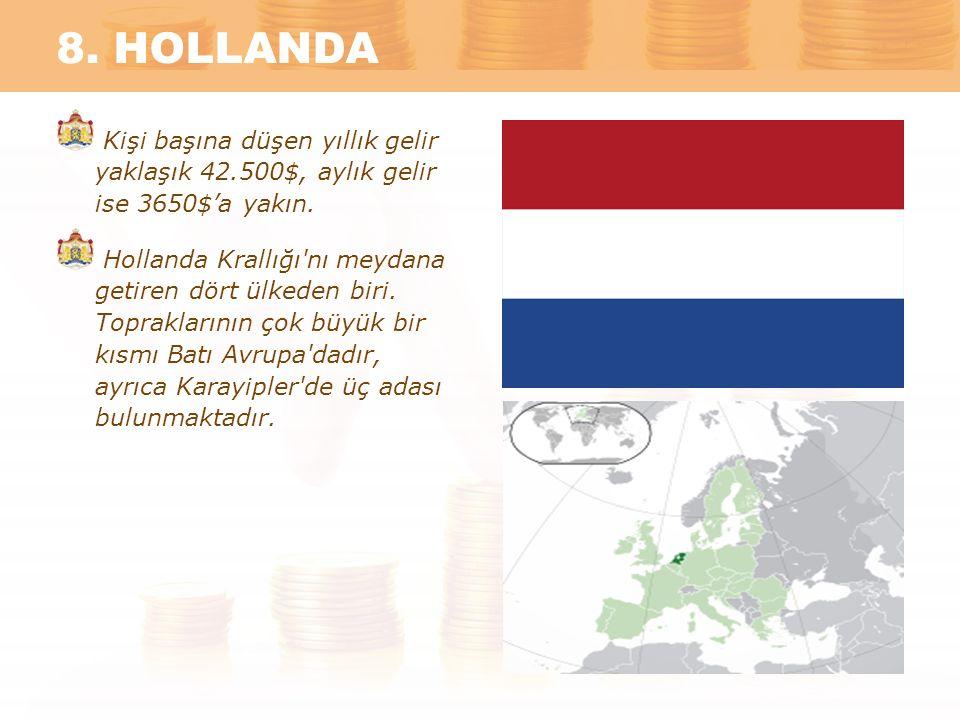 8. HOLLANDA Kişi başına düşen yıllık gelir yaklaşık 42.500$, aylık gelir ise 3650$'a yakın. Hollanda Krallığı'nı meydana getiren dört ülkeden biri. To