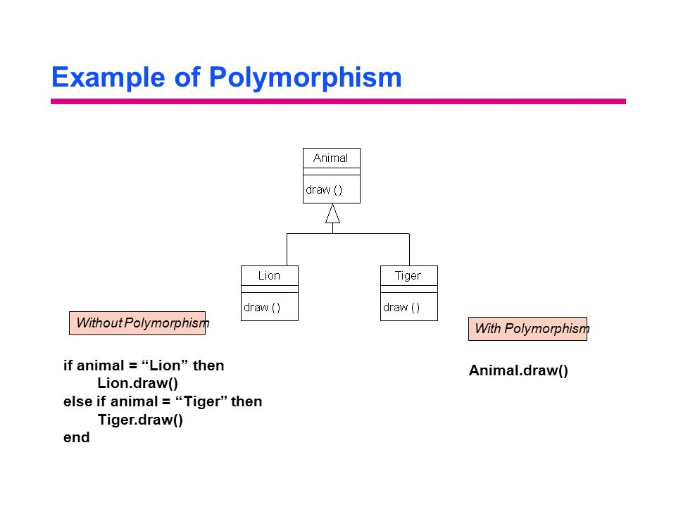 Example of Polymorphism if animal = Lion then Lion.draw() else if animal = Tiger then Tiger.draw() end Without PolymorphismWith Polymorphism Animal.draw()