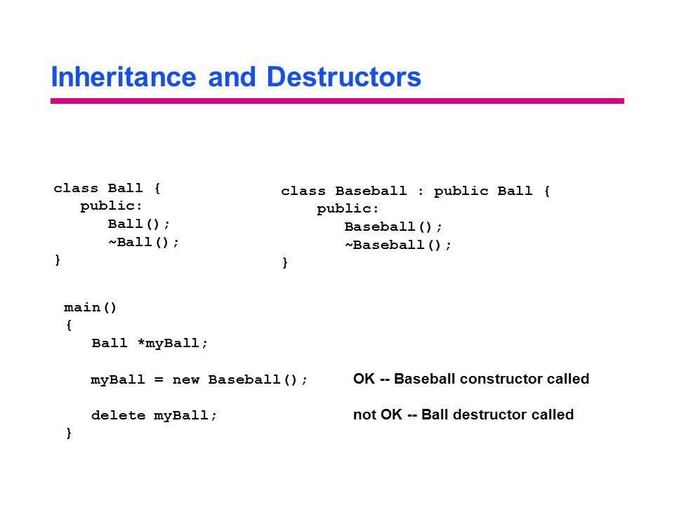 Inheritance and Destructors class Ball { public: Ball(); ~Ball(); } class Baseball : public Ball { public: Baseball(); ~Baseball(); } main() { Ball *m