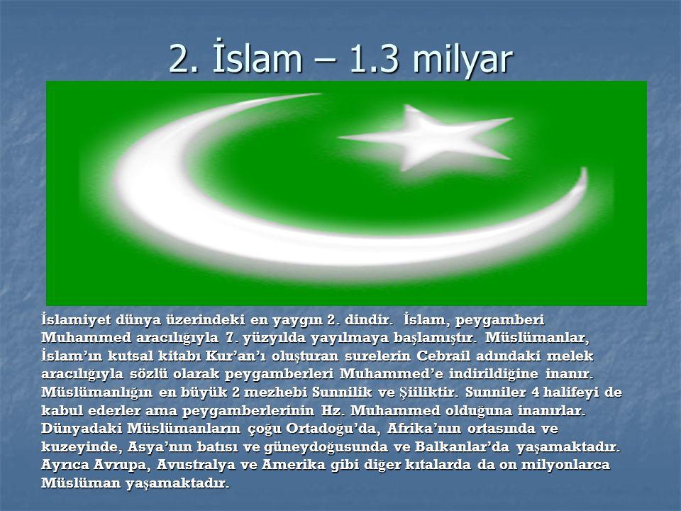 1.Hristiyanlık-2.1 milyar Ortado ğ u kökenli dünya'daki en yaygın tektanrılı din.