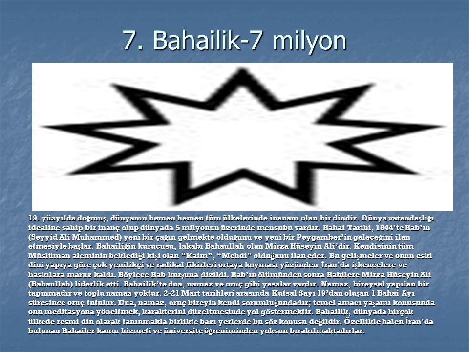 6.Musevilik-14 milyon Ya ş ayan ilâhî kaynaklı dinlerden, mensubu en az olan tek tanrılı dindir.