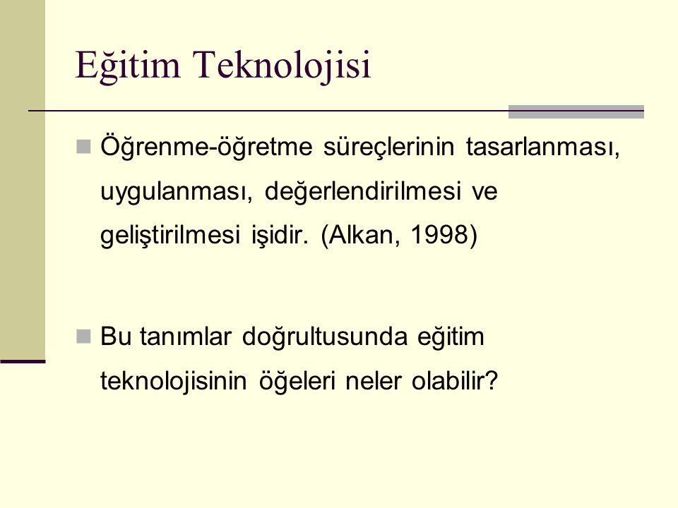 Eğitim Teknolojisi Öğrenme-öğretme süreçlerinin tasarlanması, uygulanması, değerlendirilmesi ve geliştirilmesi işidir. (Alkan, 1998) Bu tanımlar doğru