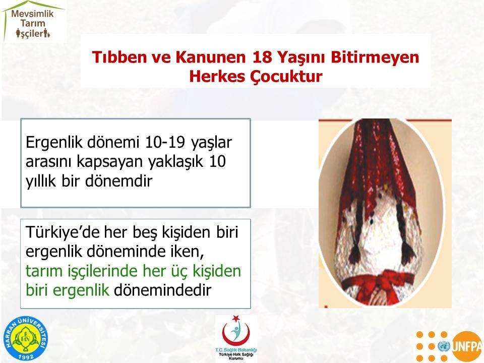 Tıbben ve Kanunen 18 Yaşını Bitirmeyen Herkes Çocuktur Türkiye'de her beş kişiden biri ergenlik döneminde iken, tarım işçilerinde her üç kişiden biri ergenlik dönemindedir Ergenlik dönemi 10-19 yaşlar arasını kapsayan yaklaşık 10 yıllık bir dönemdir