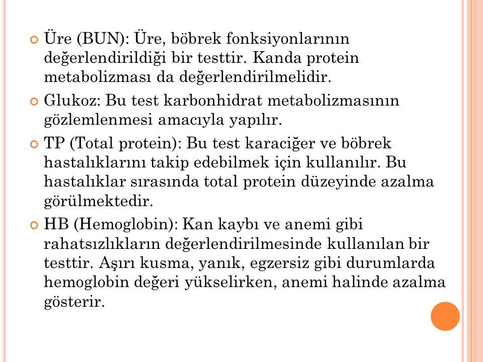 Üre (BUN): Üre, böbrek fonksiyonlarının değerlendirildiği bir testtir. Kanda protein metabolizması da değerlendirilmelidir. Glukoz: Bu test karbonhidr