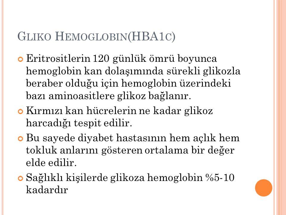 G LIKO H EMOGLOBIN (HBA1 C ) Eritrositlerin 120 günlük ömrü boyunca hemoglobin kan dolaşımında sürekli glikozla beraber olduğu için hemoglobin üzerind