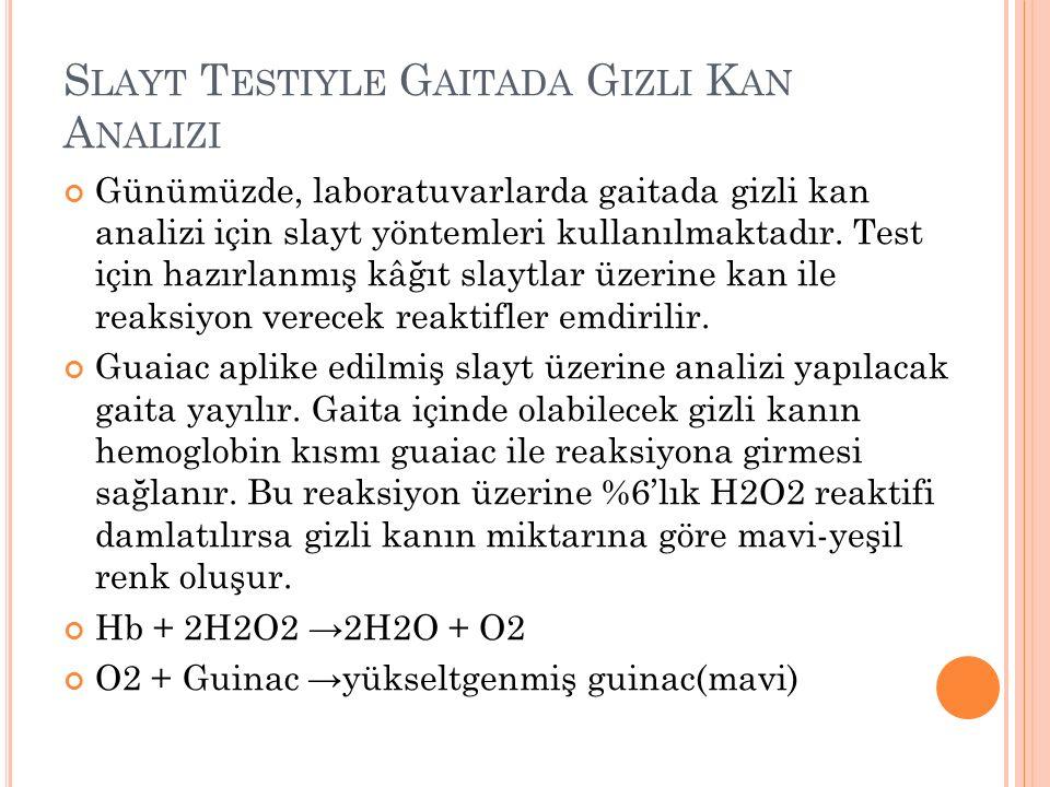 S LAYT T ESTIYLE G AITADA G IZLI K AN A NALIZI Günümüzde, laboratuvarlarda gaitada gizli kan analizi için slayt yöntemleri kullanılmaktadır. Test için