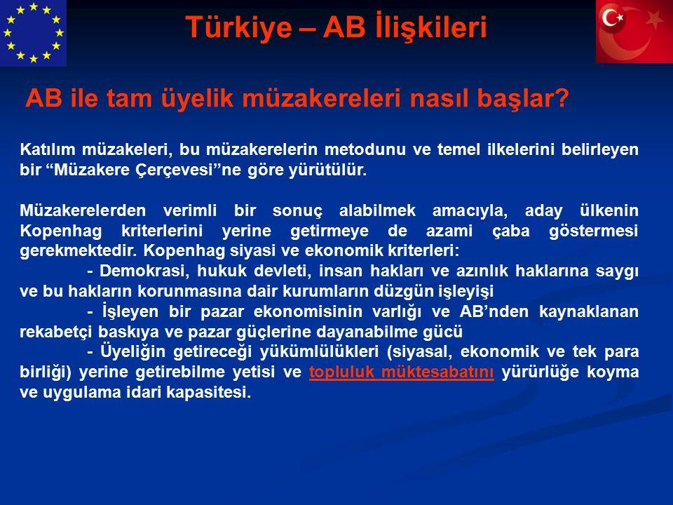 Türkiye – AB İlişkileri Katılım müzakeleri, bu müzakerelerin metodunu ve temel ilkelerini belirleyen bir Müzakere Çerçevesi ne göre yürütülür.
