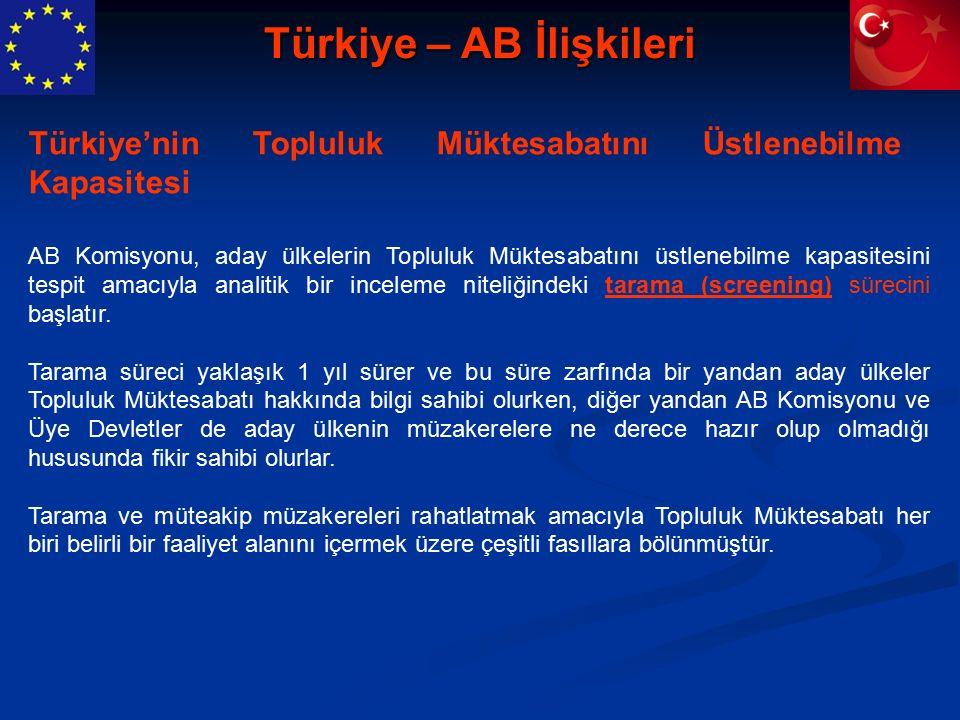 Türkiye – AB İlişkileri AB Komisyonu, aday ülkelerin Topluluk Müktesabatını üstlenebilme kapasitesini tespit amacıyla analitik bir inceleme niteliğindeki tarama (screening) sürecini başlatır.