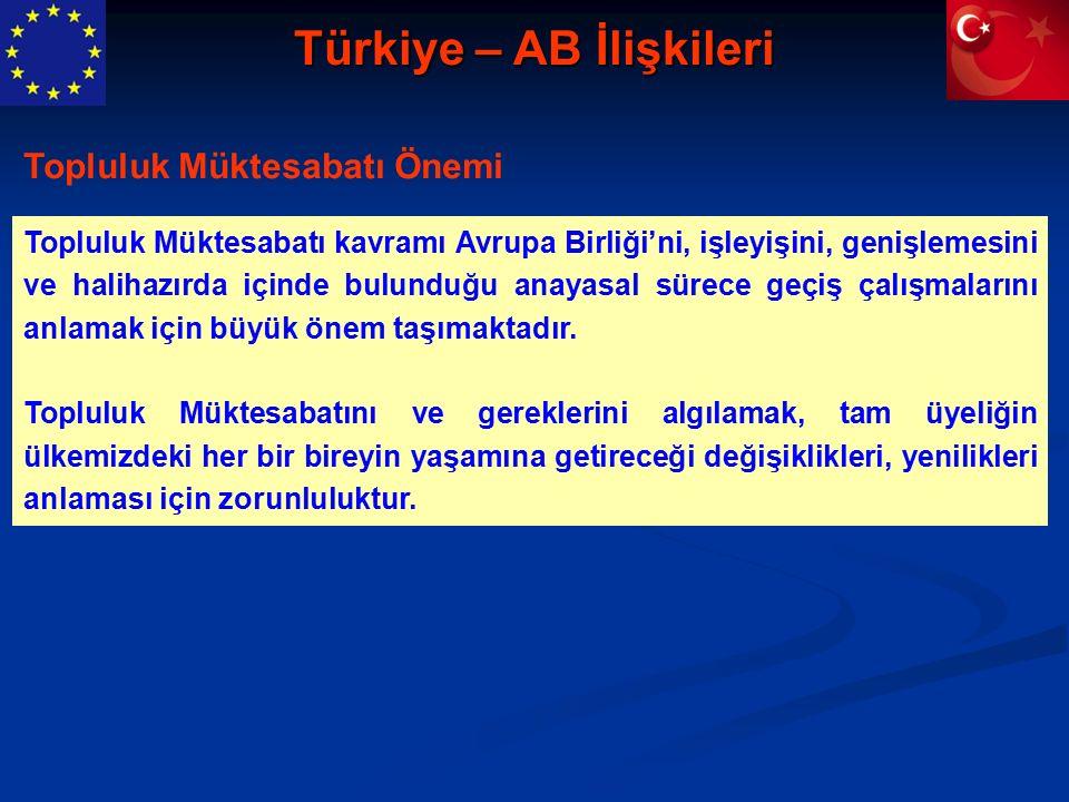 Türkiye – AB İlişkileri Topluluk Müktesabatı kavramı Avrupa Birliği'ni, işleyişini, genişlemesini ve halihazırda içinde bulunduğu anayasal sürece geçiş çalışmalarını anlamak için büyük önem taşımaktadır.