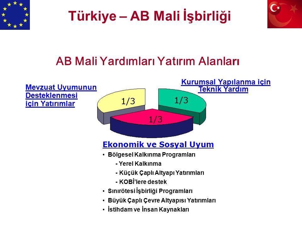 AB Mali Yardımları Yatırım Alanla rı Kurumsal Yapılanma için Teknik Yardım Ekonomik ve Sosyal Uyum Bölgesel Kalkınma Programları - Yerel Kalkınma - Küçük Çaplı Altyapı Yatırımları - KOBİ'lere destek Sınırötesi İşbirliği Programları Büyük Çaplı Çevre Altyapısı Yatırımları İstihdam ve İnsan Kaynakları Mevzuat Uyumunun Desteklenmesi için Yatırımlar 1/3 Türkiye – AB Mali İşbirliği
