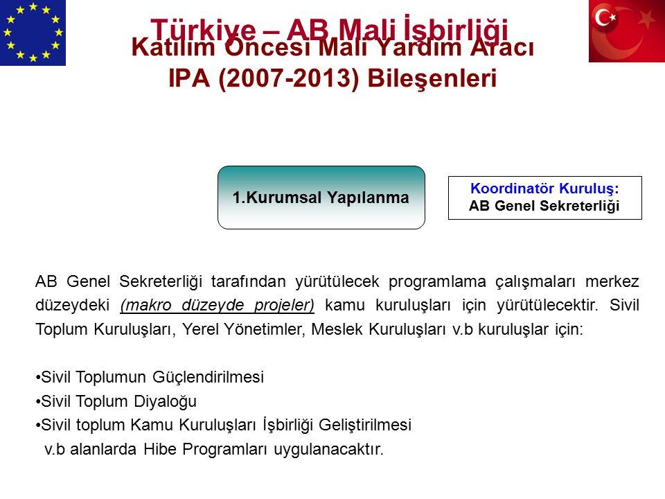 Katılım Öncesi Mali Yardım Aracı IPA (2007-2013) Bileşenleri 1.Kurumsal Yapılanma AB Genel Sekreterliği tarafından yürütülecek programlama çalışmaları merkez düzeydeki (makro düzeyde projeler) kamu kuruluşları için yürütülecektir.