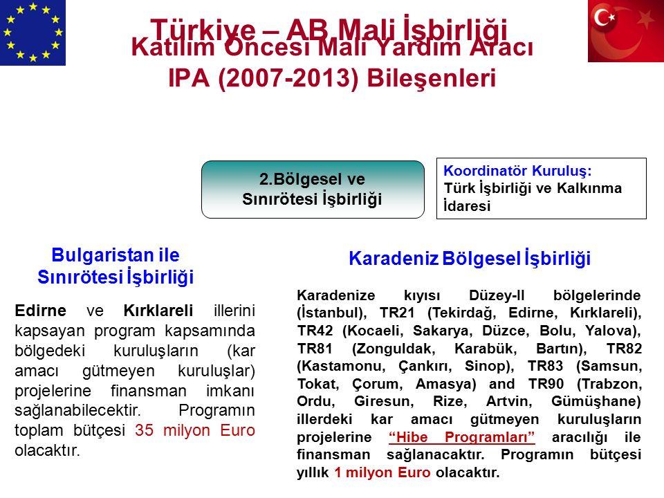 Katılım Öncesi Mali Yardım Aracı IPA (2007-2013) Bileşenleri 2.Bölgesel ve Sınırötesi İşbirliği Karadenize kıyısı Düzey-II bölgelerinde (İstanbul), TR21 (Tekirdağ, Edirne, Kırklareli), TR42 (Kocaeli, Sakarya, Düzce, Bolu, Yalova), TR81 (Zonguldak, Karabük, Bartın), TR82 (Kastamonu, Çankırı, Sinop), TR83 (Samsun, Tokat, Çorum, Amasya) and TR90 (Trabzon, Ordu, Giresun, Rize, Artvin, Gümüşhane) illerdeki kar amacı gütmeyen kuruluşların projelerine Hibe Programları aracılığı ile finansman sağlanacaktır.
