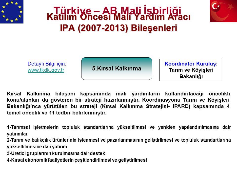 Katılım Öncesi Mali Yardım Aracı IPA (2007-2013) Bileşenleri 5.Kırsal Kalkınma Koordinatör Kuruluş: Tarım ve Köyişleri Bakanlığı Detaylı Bilgi için: www.tkdk.gov.tr Kırsal Kalkınma bileşeni kapsamında mali yardımların kullandırılacağı öncelikli konu/alanları da gösteren bir strateji hazırlanmıştır.