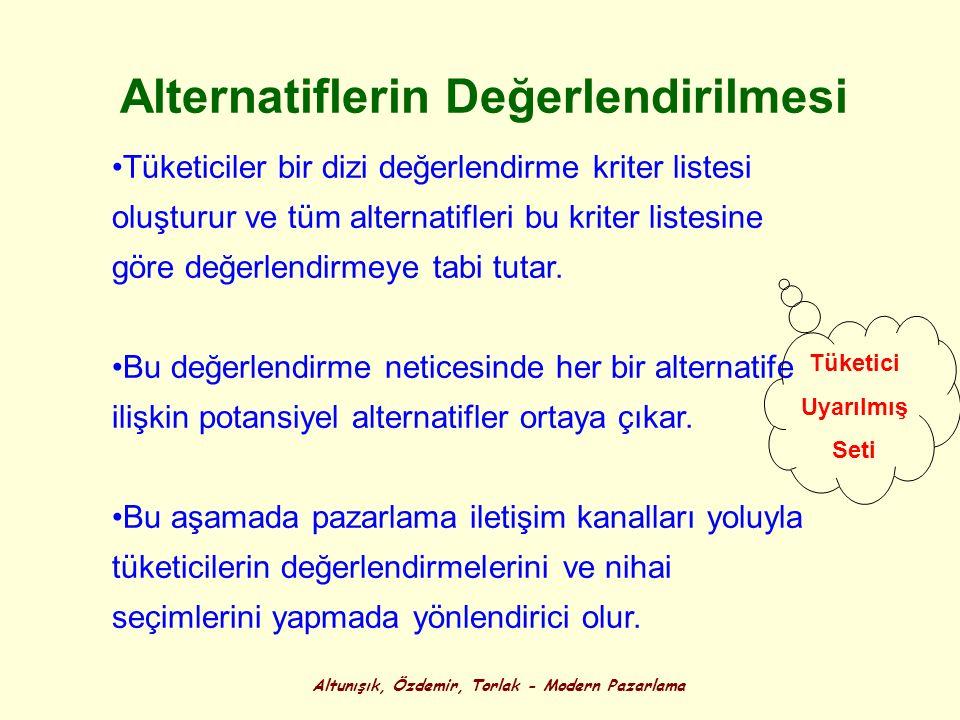 Altunışık, Özdemir, Torlak - Modern Pazarlama Alternatiflerin Değerlendirilmesi Tüketiciler bir dizi değerlendirme kriter listesi oluşturur ve tüm alt