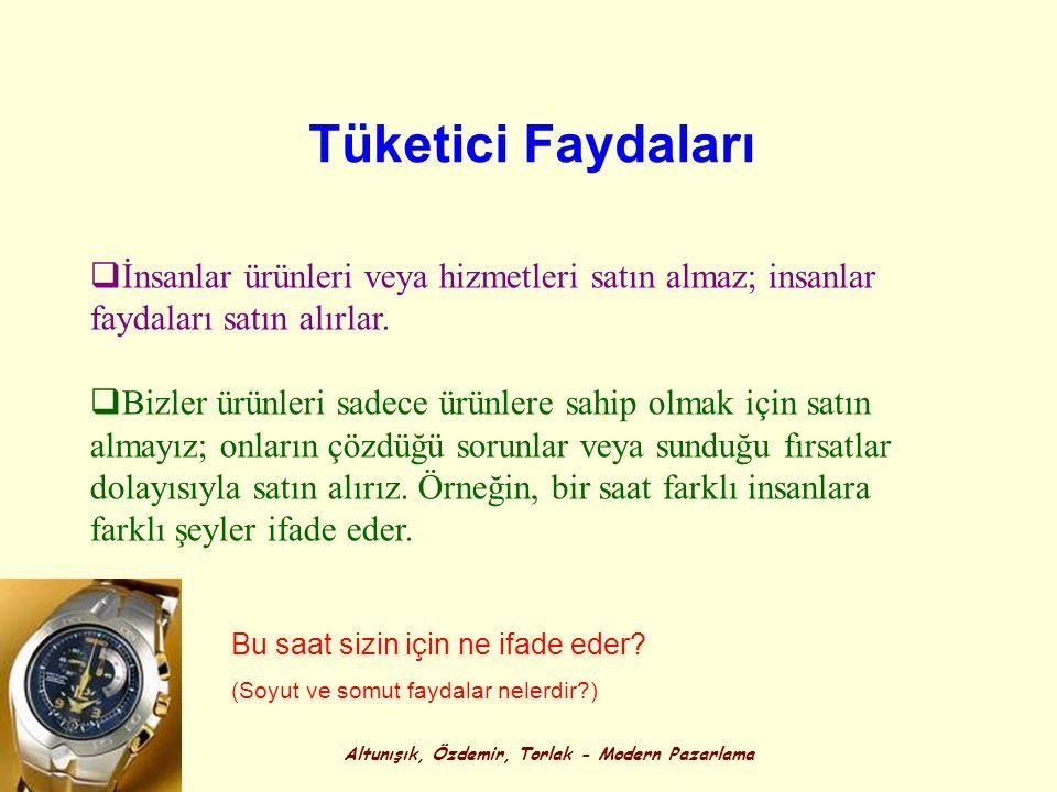 Altunışık, Özdemir, Torlak - Modern Pazarlama Tüketici Faydaları  İnsanlar ürünleri veya hizmetleri satın almaz; insanlar faydaları satın alırlar. 