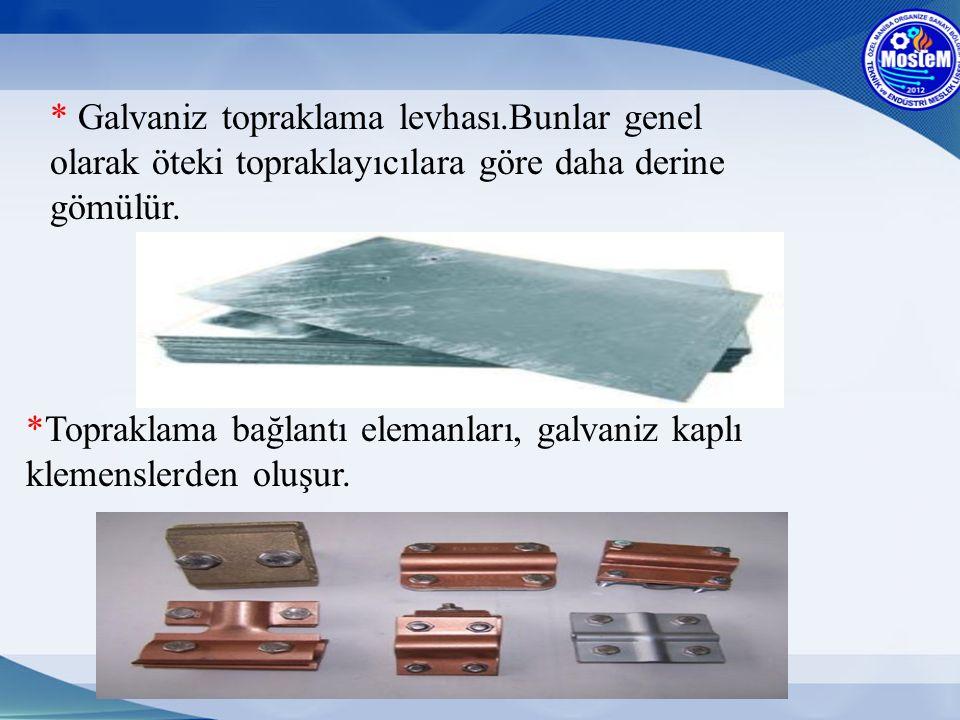 * Galvaniz topraklama levhası.Bunlar genel olarak öteki topraklayıcılara göre daha derine gömülür. *Topraklama bağlantı elemanları, galvaniz kaplı kle
