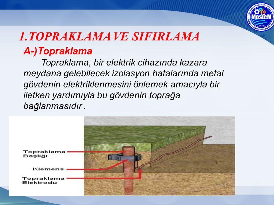 A-)Topraklama Topraklama, bir elektrik cihazında kazara meydana gelebilecek izolasyon hatalarında metal gövdenin elektriklenmesini önlemek amacıyla bi