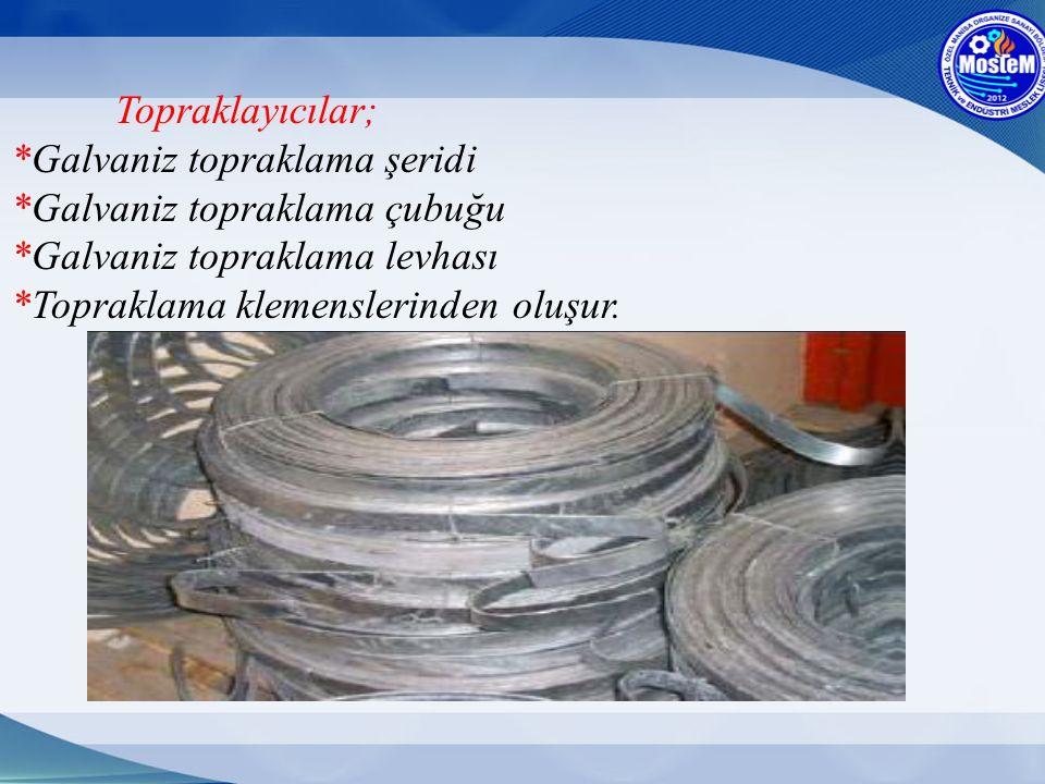 Topraklayıcılar; *Galvaniz topraklama şeridi *Galvaniz topraklama çubuğu *Galvaniz topraklama levhası *Topraklama klemenslerinden oluşur.