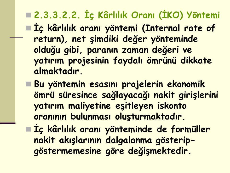 2.3.3.2.2. İç Kârlılık Oranı (İKO) Yöntemi İç kârlılık oranı yöntemi (Internal rate of return), net şimdiki değer yönteminde olduğu gibi, paranın zama