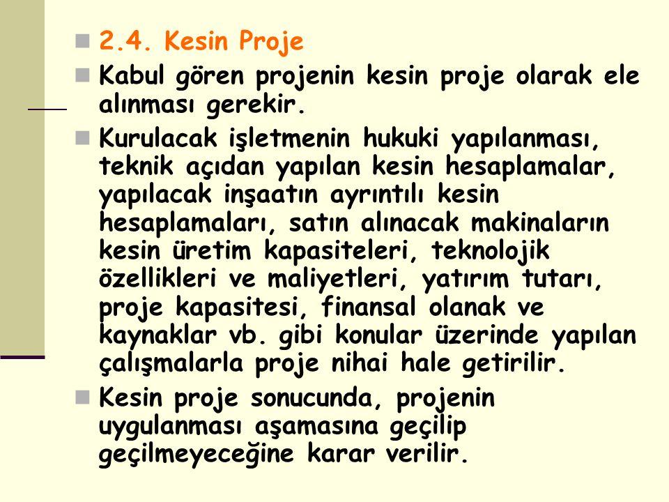 2.4. Kesin Proje Kabul gören projenin kesin proje olarak ele alınması gerekir. Kurulacak işletmenin hukuki yapılanması, teknik açıdan yapılan kesin he