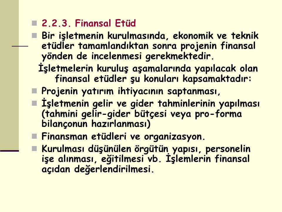 2.2.3. Finansal Etüd Bir işletmenin kurulmasında, ekonomik ve teknik etüdler tamamlandıktan sonra projenin finansal yönden de incelenmesi gerekmektedi
