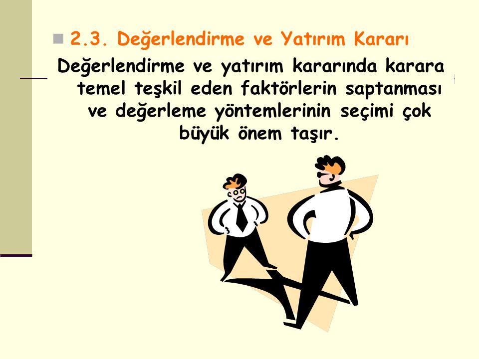 2.3. Değerlendirme ve Yatırım Kararı Değerlendirme ve yatırım kararında karara temel teşkil eden faktörlerin saptanması ve değerleme yöntemlerinin seç