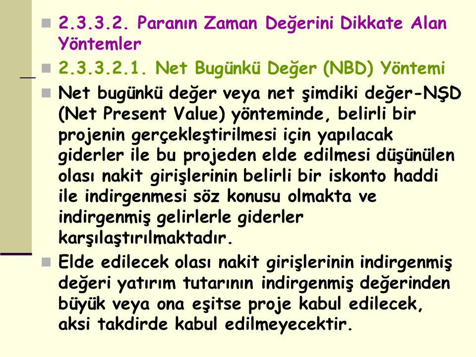 2.3.3.2. Paranın Zaman Değerini Dikkate Alan Yöntemler 2.3.3.2.1. Net Bugünkü Değer (NBD) Yöntemi Net bugünkü değer veya net şimdiki değer-NŞD (Net Pr