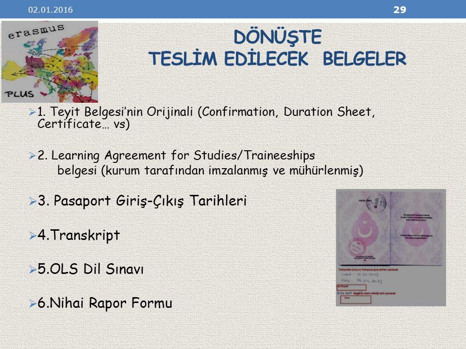DÖNÜŞTE TESLİM EDİLECEK BELGELER  1.